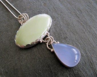 Pendant of Citron Chrysoprase and Blue Chalcedony in Sterling Silver