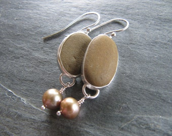 Earrings of Oregon Beach Pebbles and Pearls in Sterling Silver