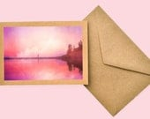 Pastel Pink Beach Card, Note Card Photo,color, Blank Notecard, Kraft Card, Recycled notecard, Landscape Photography, gift card, Pink Decor