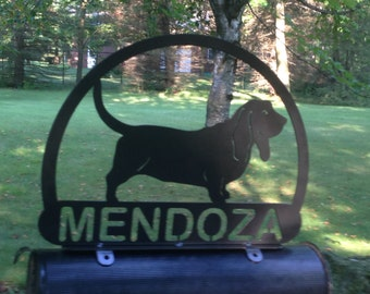 Custom Basset Hound MAILBOX TOPPER Metal Address Sign Personalized