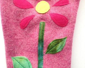 Diaper Cover Wool Longies - Pink Lambswool with Wool Flower Embellishment  Longies