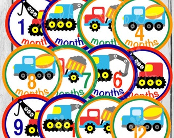MONTHLY IRON ONS Decals or Monthly Stickers - 12 Monthly iron on heat transfers - for Baby boy - Trucks (Style#B04)