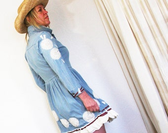 upcycled clothing, denim dress, country, cowgirl . kincaid . S - M