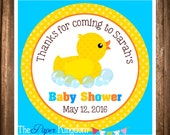 Rubber Ducky Favor Tags, PRINTABLE Baby Shower Tags, Rubber Ducky Baby Shower, Rubber Ducky Gift Tags