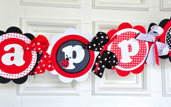 Ladybug Happy Birthday Banner, XL Deluxe Banner, Ladybug Birthday Party Decorations