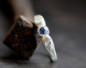 Blue sapphire relic ring in sterling silver with moissanite flush settings,  milgrain and engraved details