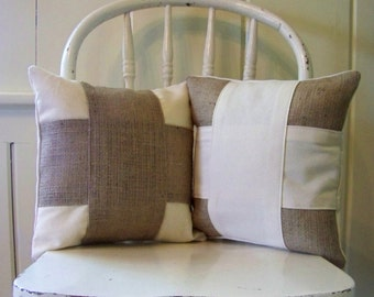 free shipping / set of 2 burlap & canvas cross pillows / natural / farm house / home decor / decoration / stripe / burlap pillow /