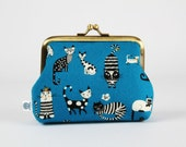 Metal frame coin purse - Funny cats on blue - Deep dad / Kawaii japanese fabric / black and white cats / bright orange / stripes and dots