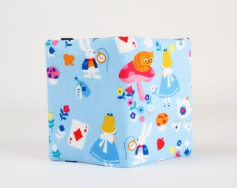 Fabric card holder - Alice in Wonderland / Blue pink orange