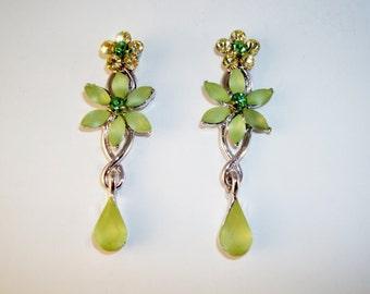 Beautiful Green Crystal Floral Dangle Earrings