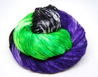 "Glam Rock Sparkle Sock Yarn - ""Undead Ahead"" -  Handpainted Superwash Merino - 438 Yards"