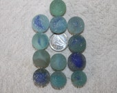 BEAUTIFUL BEACHGLASS MARBLES Awesome collection of Frosted blue shaded blues,blues and more blues  beachglass marbles zy062