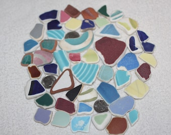 AWESOME BEACHGLASS POTTERY Shards Arts and Craft Mosiacs or Jewelry Sized Pieces  zy988