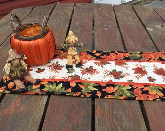 Fall Table Runner, Fall Quilted Table Runner, Autumn Table Runner Quilted, Maple Oak Leaf Table Runner, Brown Orange Black Table Runner