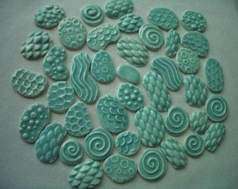 42PAJA - THINNER 42 pc Pale JADE Stamped Circles - Ceramic Mosaic Tile Set