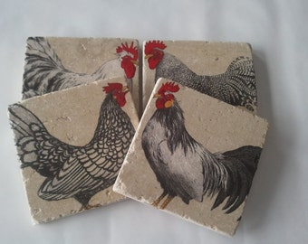 Chickens and Roosters Coasters