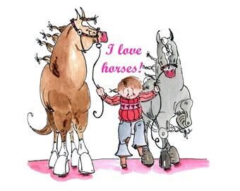 I love horses!  Sweet little girl print