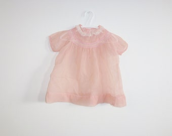 Vintage Sheer Pink Baby Dress