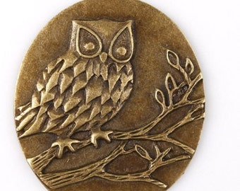 Owl Oval Charms 48x39, Hole:2mm. Pack Of 5 Pendants
