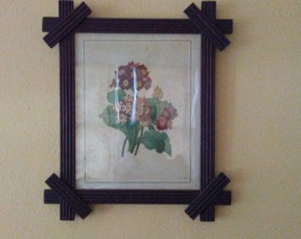 Antique Tramp Art Frame with Original Print and Wavy Glass