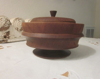 Antique American Treenware Covered Bowl with Carving