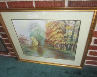 Vintage 1940s/50s Large Original Pastel Autumn Landscape Signed Painting