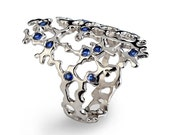 SEA SPRAY Sleek 14k White Gold Sapphire Ring, RESERVED for Kelsiana