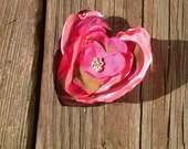 Shabby chic heart floral pin in pink plaid and lipstick pink for jacket/ scarf/ purse- Valentine's Day