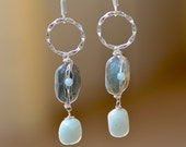 Labradorite  Earrings. Sterling Silver.  RAIN CLOUD Gray Labradorite - Airy Blue Amazonite. Gemstone Earrings.