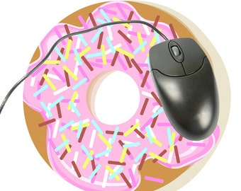 Pink Donut Custom Mousepad, Computer Mouse Pad, Round Mouse Pad, Mousepad Round, Foodie Gift, Donut Fabric Mousepad, Mouse Pad Funny