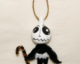 Sale, Halloween Folk Art Gourd Ornament OOAK, Primitive Halloween Ornaments (A 22)