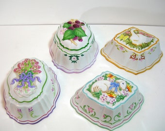 Le Cordon Blue Stoneware Molds, Set Of Four, Duck, Sheep, Berries, Asparagus,  The Franklin Mint  1986