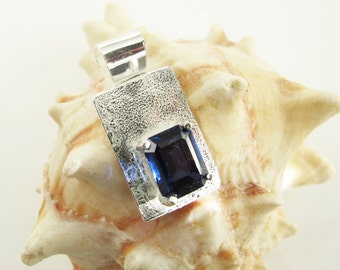 Blue Sapphire Pendant: Artisan Sterling Jewelry