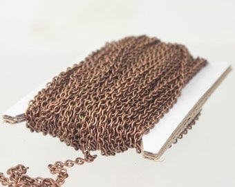 10 feet Antique Copper Chain SOLDERED Chain Necklace Bracelet Chunky Thick Cable Chain - 3x3.5mm 21G Thickness SOLDERED Link bulk chain