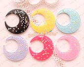 Huge Starry Moon Flat Back Resin Charm Cabochon - 6pc | Resin Cabochon Decoden Supplies Jewelry Making Flatback Resin Cabochon