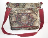 Commuter Bag and Purse Crossbody Bags Shoulder Bags Gray Version Old World Map Tapestry Fabric - Two-in-One