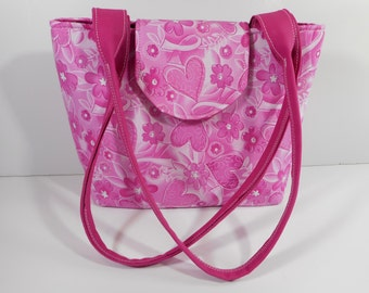 Purse Shoulder Bag Medium-Sized Flap Breast Cancer Awareness/Support Pink Ribbon and Hearts Double Straps Pockets Zipper Magnetic Snap