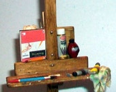 Miniature Artist Easel with Paint Box  1:12 scale