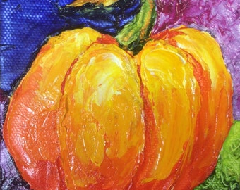 Pumpkin 4x4 Inch Original Impasto Oil Painting by Paris Wyatt Llanso