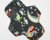 "8.5"" Pantyliner, Every Day Liner Made w/ Mermaids Minky, Windpro Fleece, Reusable Cloth Menstrual Pad, MotherMoonPads Cloth Pad"
