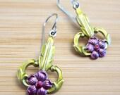 Posies Art Deco Style Flower Earrings Hand Painted Enamel