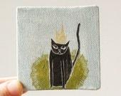 king cat / cat art, original small painting