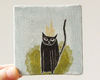 king cat / cat art, original small painting