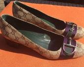 Vintage Gucci Italy Italian Woman Lady Shoe 10B Horse Bit Brown Purple Monogram Niagara