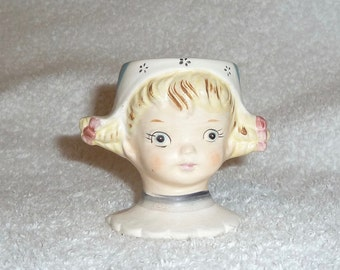 Vintage Lefton Dutch Girl Holland Egg Cup Figurine Breakfast Nordic