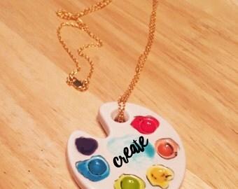 Palette Necklace, personalized palette necklace, custom palette necklace, Paint Palette Necklace