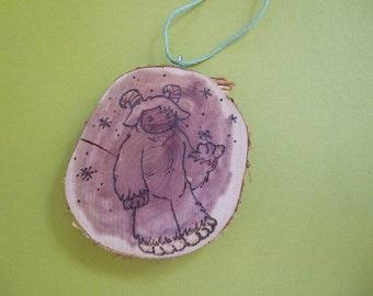 The Fur Snowell Woodburned Ornament