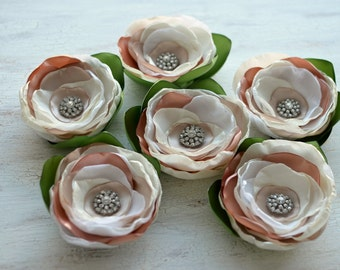 Fabric flower brooch, fabric flower, floral fabric accessory, weding flower, large silk flower, wedding corsage - IVORY- CHAMPAGNE- BLUSH