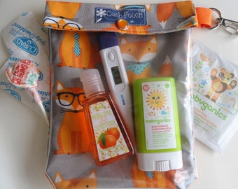 Clear Front Preppy Foxes Diaper Bag or Purse Insert w/Clip. First Aid Organizer Baby Supplies Wipes Case (5x7 Medium)