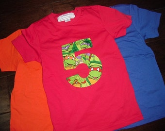 TMNT Ninja Turtle Inspired Birthday Boy Girl Party Shirt Any Age 1st 2nd 3rd 4th 5th 6th Red Orange Blue